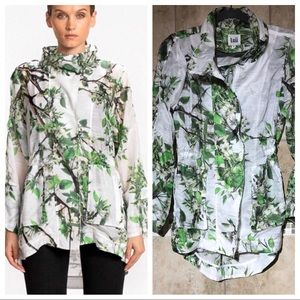 Luii Floral High Low casual coat S hooded